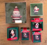 Vintage Hallmark Santa Christmas Ornament Lot Schnoz Sleigh Soccer