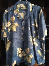 mens Hawaiian Aloha shirt Size  XXL 100% Silk Medium Blue- Floral