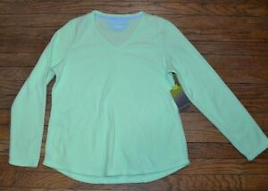 Tek Gear Performance Fleece V Neck Top Mint Bliss Super Soft & Warm Petite Sizes