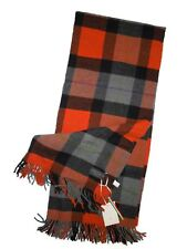 "Fiori Di Firenze of Italy Wool plaid Throw Blanket Orange black & grey 52"" x 67"""