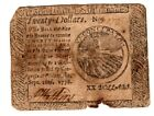 1778,  Twenty Dollars, Colonial Currency, Hall and Sellers, J. Watkins signed