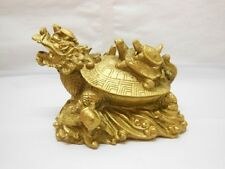 1X Golden Chinese Feng Shui 9 Turtle Statue Tortoise Statue