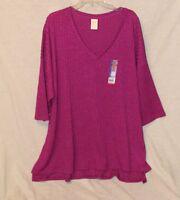 Faded Glory Womens Size 3x 22-24W Plus Berry Long Sweater