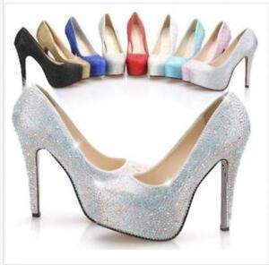 Sexy Girl Glitter Rhinestones High Heels Platform bride Party wedding Shoes BJ98