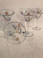 Set/4 Millefiori Margarita Beverage Cocktail Hand Blown Italian Glasses