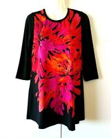 NEW WOMEN'S SUSAN GRAVER BLACK EMBELLISHED FLORAL LIQUID KNIT TUNIC TOP SIZE XS