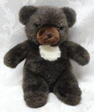 "Vintage 1982 Dark Brown & White 9"" Gund Teddy Bear Rare PVC Pellets RARE VGUC"