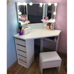 Modern Dressing Table Makeup Stool Desk Durable Curved Shape Dresser Set Corner