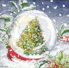 S256# 3 x Single SMALL Paper Napkins Decoupage Christmas Tree In Glass Bauble