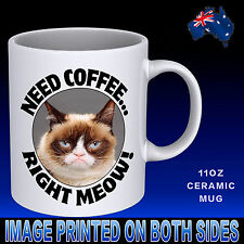 Need Coffee Meow Mug Cup Funny Cat Lovers Novelty  Gift Idea Office Birthday Mum