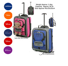Kids Child Young Pink Blue Cabin Case Hand Luggage Trolley Backpack Bags Holdall