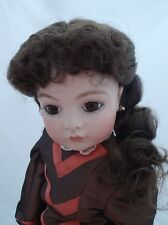 11 INCH DOLLS WIG IN DARK BROWN LONG WITH PULLED BACK FRENCH BRAID 01059 ZOE