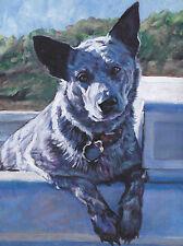 "Australian Cattle dog art Canvas PRINT of LAShepard painting  12x16"" BLUE HEELER"