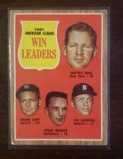 1962 Topps American League Win Leaders Whitey Ford New York Yankees Card #57
