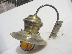 Vintage Brass Porch Garden Lantern Light Lamp Shade Orange Glass Old Retro