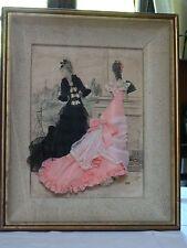 Ancien CADRE MODE de PARIS habillage relief tissu & passementerie fait main 1877