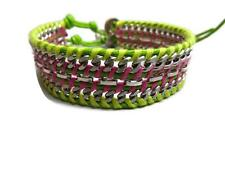 Chan Luu Bracelet Double Width Yellow Green Pink Silver Chain Button Closure