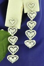 18k Solid White gold Natural Diamond dangling earring Stylish 2.12ct heart style