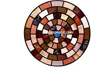 "36"" Study Room Marble Side Table Top Multi Mosaic Inlaid Collectible Stone H5644"