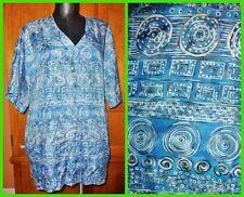 CAROLE LITTLE Teal Pure SILK Ethnic Tribal Print dress TOP TUNIC BLOUSE 14 XL