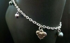 A Cute Silver Ringing Bell and LOVE HEART Charm Anklet on Silver Plated Chain