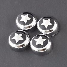 4/SET CHROME BOLT COVER + STAR BLACK DECAL LICENSE PLATE FRAME SCREW CAP CAR