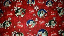 LINED VALANCE 42X15 COCA COLA BOTTLE CHRISTMAS HOLIDAY SNOWFLAKE SANTA