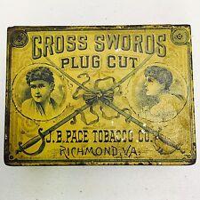 Vintage Cross Swords Tobacco Plug Advertising Tin Original JB Pace Tobacco Co.