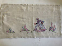 Vintage linen Hand embroidered Picture panel  ~ Crinoline lady  58 X 33cm