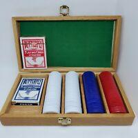 Pressman Poker Set Wooden Case 200 Chips And 2 Card Decks Brass Latch Vintage