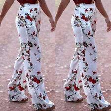 LADIES FLORAL PRINT PLAIN PALAZZO TROUSERS WIDE LEG PANTS SUMMER PLUS SIZE