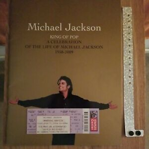 Michael Jackson Memorial Program With Family-Friends Ticket and Wristband