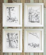 "SET OF 4 Winnie the Pooh Prints, 5""x7"" UNFRAMED, Baby Birth Bear Picture Gift"