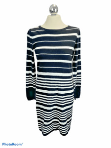 Next Black and White Stripe Long Sleeve Fine Knit Jumper Dress Size 10 Cosy