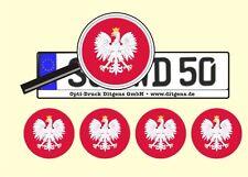 4 x Nummernschild Aufkleber Polen Polska AU Ersatz Plakette Flagge