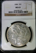 1886 P MORGAN SILVER $1 DOLLAR NGC MS 63 USA COIN DBW