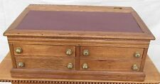 19Th C Victorian Solid Oak Table Top Antique Clerk'S Desk / Spool Cabinet