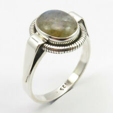 925 Sterling Silver Natural LABRADORITE Tibetan Ring Size 8.5 Art Gemstone