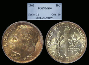 1960 Roosevelt Dime graded MS66 by PCGS ...... COLOR!!!