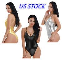 US Women Shiny Patent Leather Leotard Bodysuit One Piece Monokini Swimwear Beach