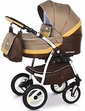 New Baby Pram 3in1 Complete Travel System with Carrycot, stroller and car seat