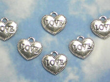50 LOVE Heart Message Charms 12mm Dangles Silver Tone #P1252 -50