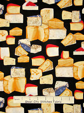 Cheese Fabric - Swiss Bleu Parmesean Black Robert Kaufman Kiss The Cook - Yard