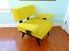 Vintage Mod Yellow Bentwood Armchair Floating Design Black Bent Plywood Chair