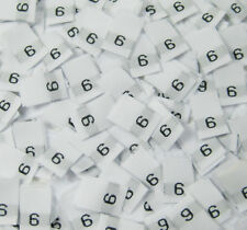 25 PCS WHITE WOMEN TAFFETA WOVEN CLOTHING NUMBER SIZE TAG LABELS - SIZE 6 - SIX