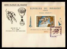 1966 PARAGUAY FDC SPACE GEMINI V CACHET S/S