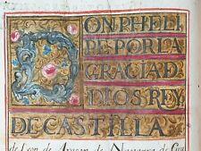 King Philip Spain Document Royal Illuminated Manuscript Nobility Grant Arms Book