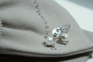 David Yurman 925  Silver 14k Cable 7mm PEARL Diamond Stud Earrings & DY Pouch