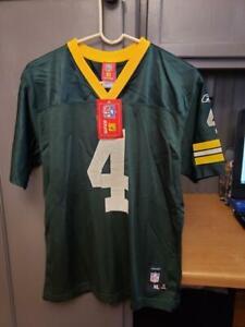 BRAND NWT NFL GREEN BAY PACKERS BRETT FAVRE #4 REEBOK JERSEY YOUTH SIZE XL