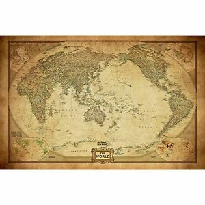 Vintage World Map Poster Canvas Detailed Center Australia Waterproof Map wall